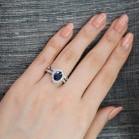 bridal set oval blue sapphire ring bezel blue sapphire diamond band white gold by la more design