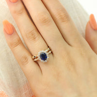 bridal set oval blue sapphire ring bezel diamond wedding band yellow gold by la more design