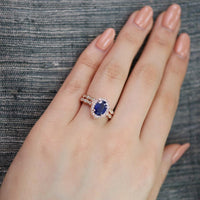 bridal set oval blue sapphire ring scalloped diamond band rose gold by la more design