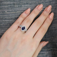 oval blue sapphire ring bridal set in white gold vintage inspired band by la more design