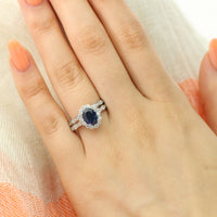 bridal set oval blue sapphire ring scalloped diamond wedding band white gold by la more design