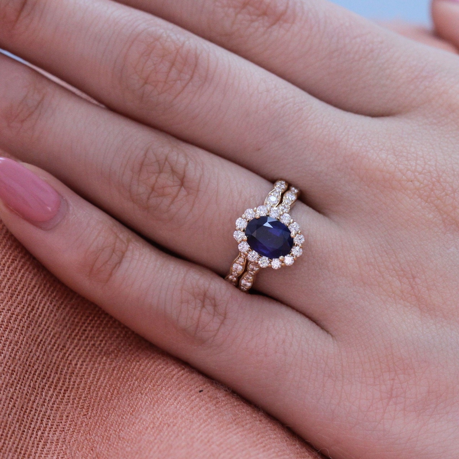 Luna Halo Bridal Set In Scalloped Band W Oval Sapphire And Diamond