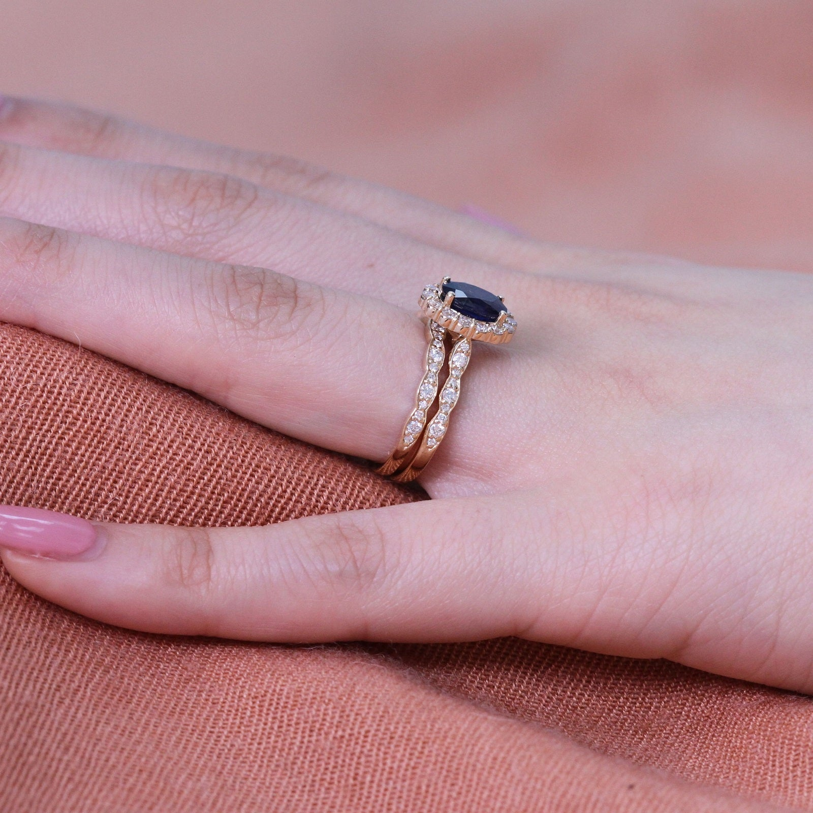 Oval Natural Sapphire Ring Bridal Set in Yellow Gold Halo Diamond ...