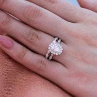 forever one moissanite ring bridal set in white gold halo diamond ring by la more design