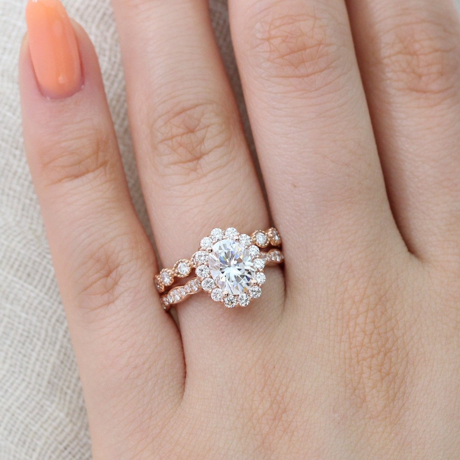 Luna Halo Bridal Set in Scalloped Band w/ Moissanite and Milgrain ...