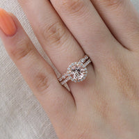 bridal set rose gold morganite ring scalloped diamond wedding band by la more design