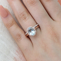 bridal set rose gold oval aquamarine ring scalloped diamond wedding band by la more design