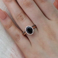 bridal set rose gold oval black spinel ring black white diamond wedding band by la more design