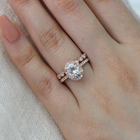 bridal set rose gold oval moissanite ring milgrain diamond wedding band by la more design