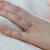 bridal set rose gold oval morganite ring scalloped diamond wedding band by la more design