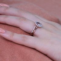 bridal set pear aquamarine ring in rose gold scalloped diamond band by la more design