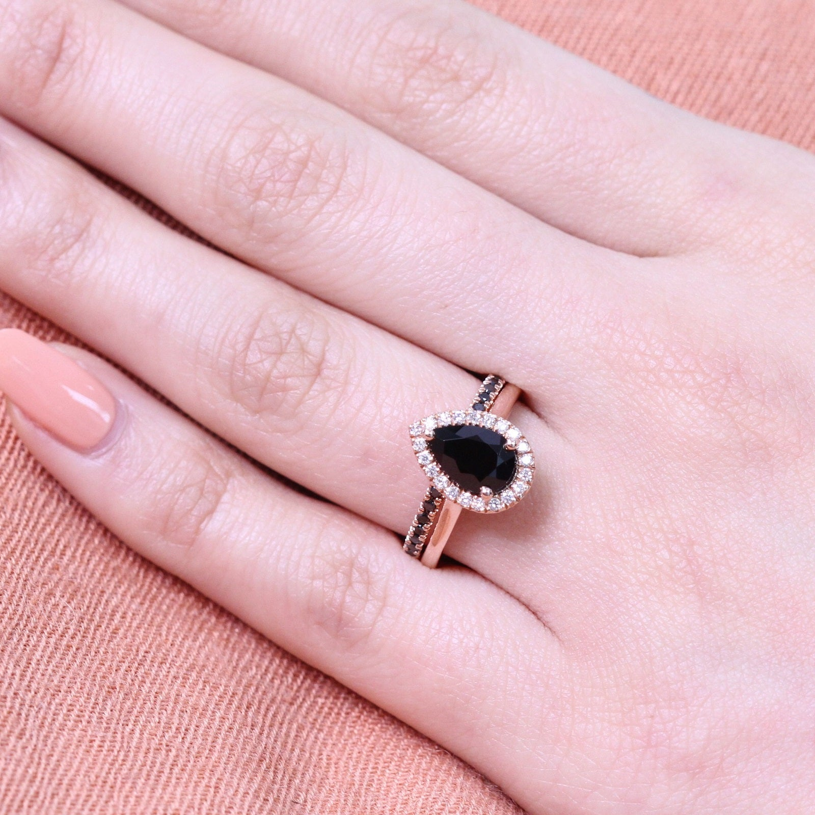 Pear Black Spinel Ring Bridal Set in Black Diamond Pave Band 9x6mm ...