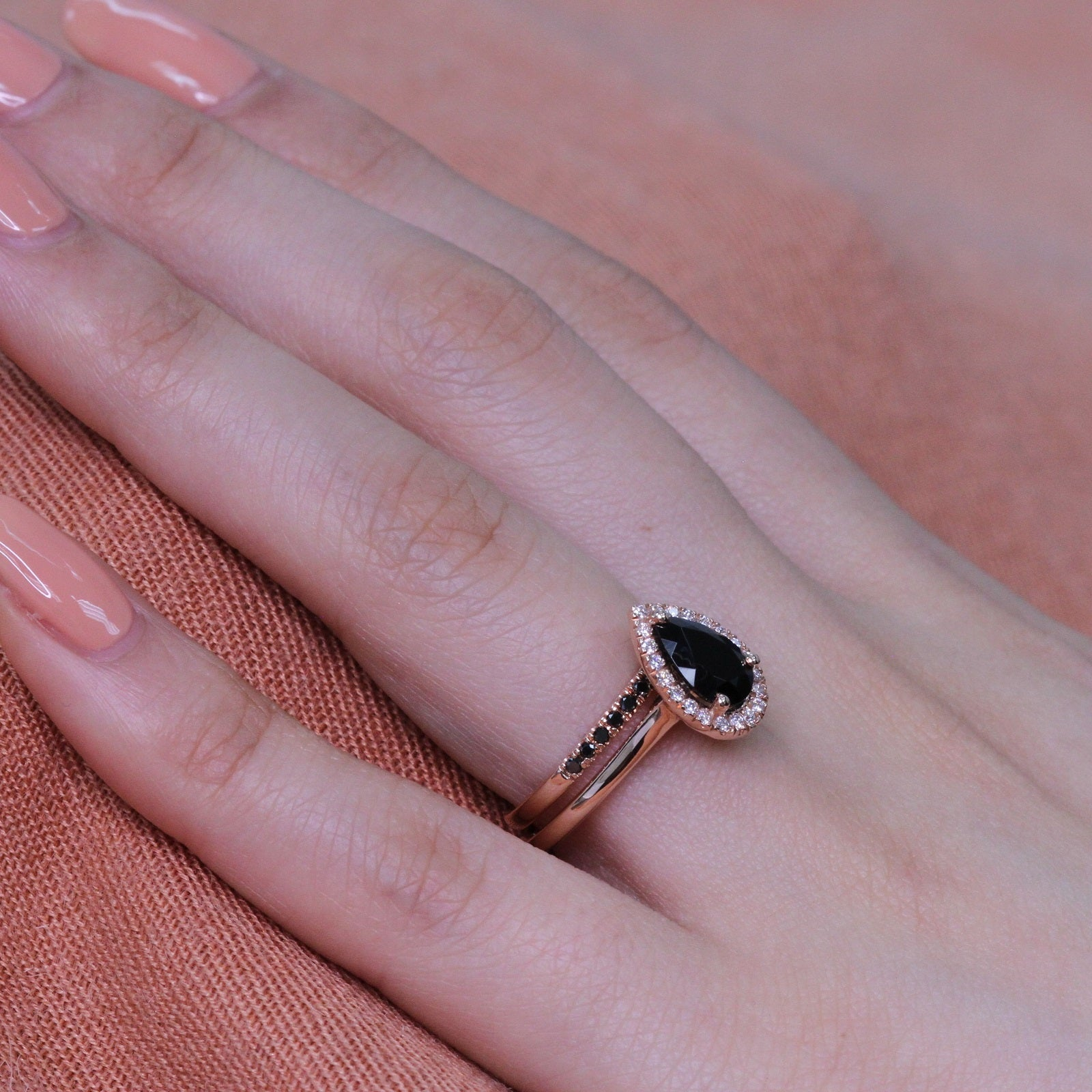 Pear Black Spinel Ring Bridal Set in Black Diamond Pave Band 9x6mm