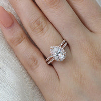 bridal set rose gold pear moissanite ring diamond wedding band by la more design