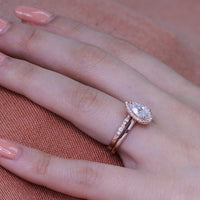 bridal set rose gold pear moissanite ring scalloped diamond wedding band by la more design