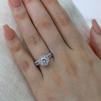 bridal set white gold moissanite engagement ring scalloped diamond wedding band by la more design