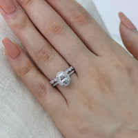white gold vintage inspired moissanite ring bridal set by la more design