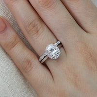 bridal set white gold oval moissanite ring scalloped diamond wedding band by la more design
