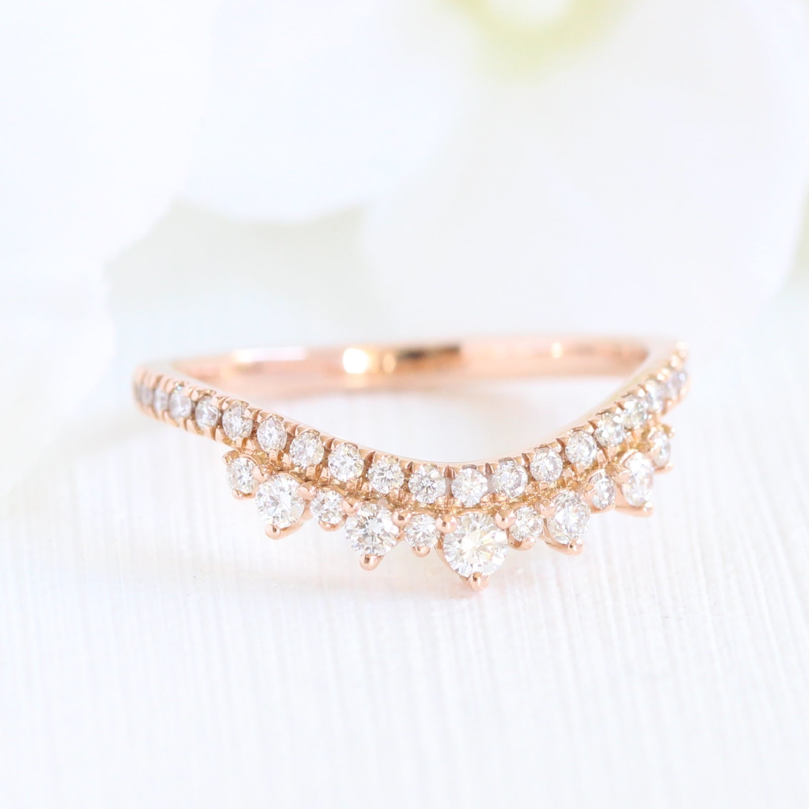 Crown Diamond Wedding Ring In Rose Gold Curved Band La More Design