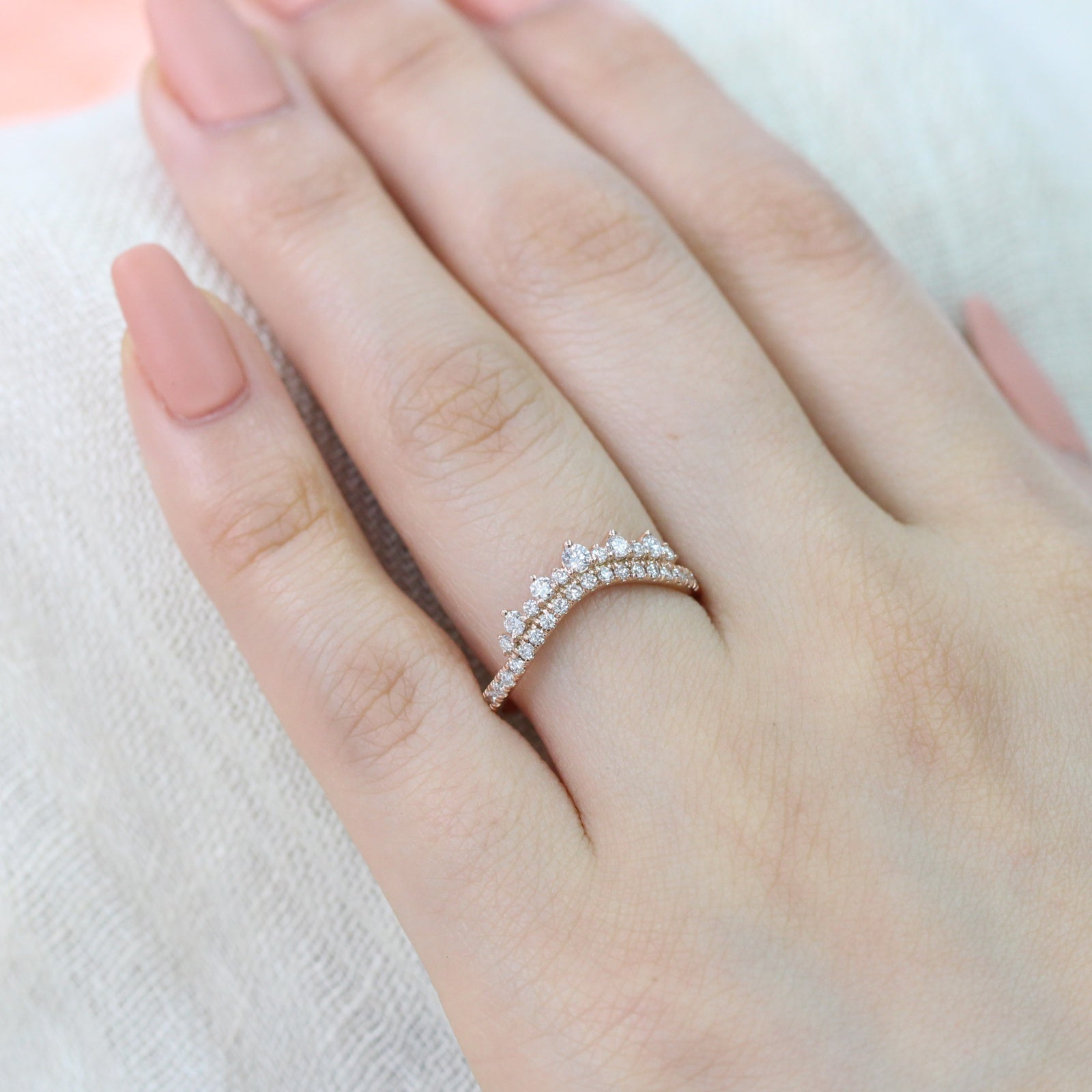 Rose Gold Wedding Ring.Crown Diamond Wedding Ring In Rose Gold Curved Band