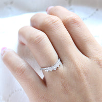 crown diamond wedding band curved white gold ring by la more design jewelry