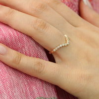 Curved Diamond Wedding Ring in Yellow Gold Milgrain Band by La More Design