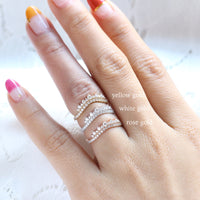 curved diamond wedding band rose gold crown diamond wedding ring white gold by la more design jewelry