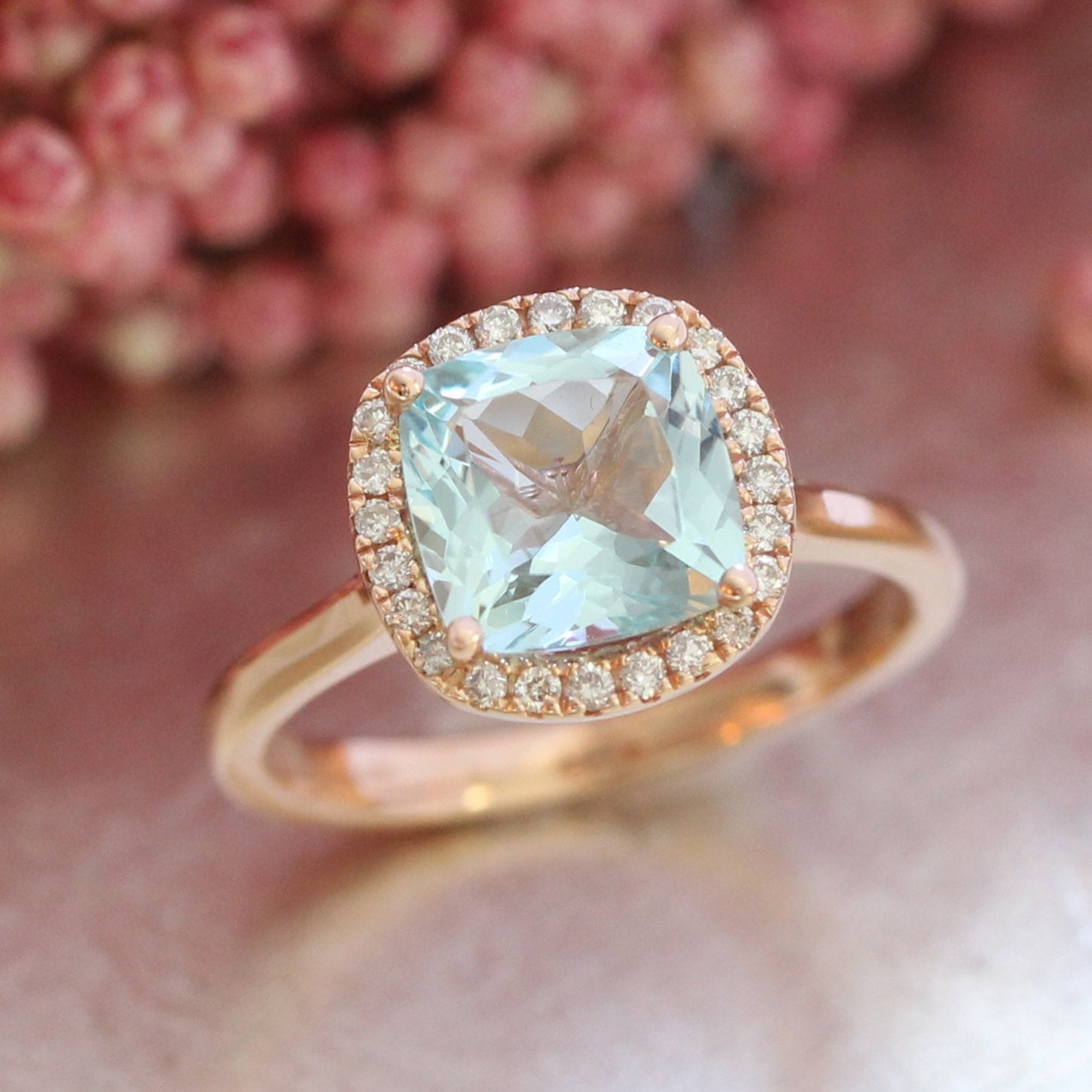 Luna Halo Ring W Cushion Cut Aquamarine And Diamond
