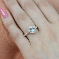 cushion aquamarine engagement ring in rose gold vintage inspired diamond band by la more design