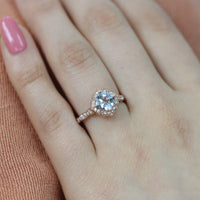 aquamarine engagement ring in rose gold mini vintage floral by la more design