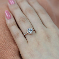 cushion aquamarine ring rose gold diamond scalloped engagement ring by la more design