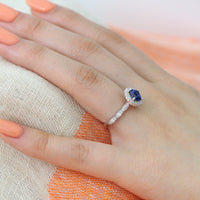 Cushion Blue Sapphire Ring in 14k White Gold Luna Halo Diamond Band, Size 5.5