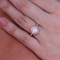 halo diamond moissanite engagement ring in rose gold scalloped band by la more design