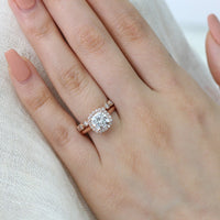 cushion moissanite engagement ring bridal set rose gold milgrain diamond band by la more design