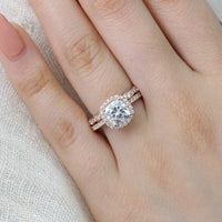 rose gold bridal set cushion moissanite engagement ring and scalloped diamond band by la more design