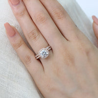 cushion moissanite engagement ring bridal set rose gold scalloped diamond band by la more design