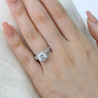cushion moissanite engagement ring bridal set white gold diamond wedding band by la more design