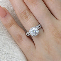 Cushion moissanite halo diamond ring set in white gold by la more design