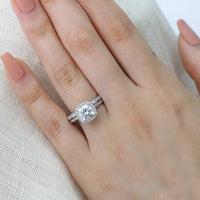 cushion moissanite engagement ring bridal set white gold scalloped diamond band by la more design