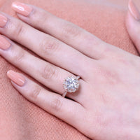 cushion moissanite engagement ring in rose gold vintage inspired band by la more design