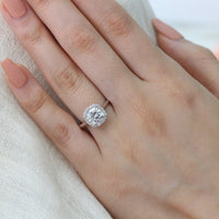 cushion moissanite ring white gold halo diamond engagement ring by la more design