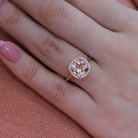 Luna Halo Ring w/ Cushion Cut Morganite and Diamond