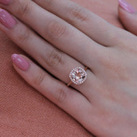 rose gold halo diamond morganite engagement ring by la more design