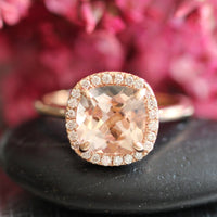 cushion morganite ring rose gold halo diamond engagement ring by la more design