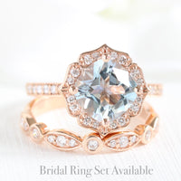 cushion aquamarine ring bridal set in rose gold vintage inspired band by la more design