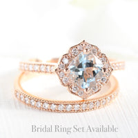 cushion aquamarine ring bridal set in rose gold vintage inspired diamond band by la more design