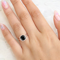cushion black spinel halo diamond engagement ring in rose gold bridal set by la more design jewelry