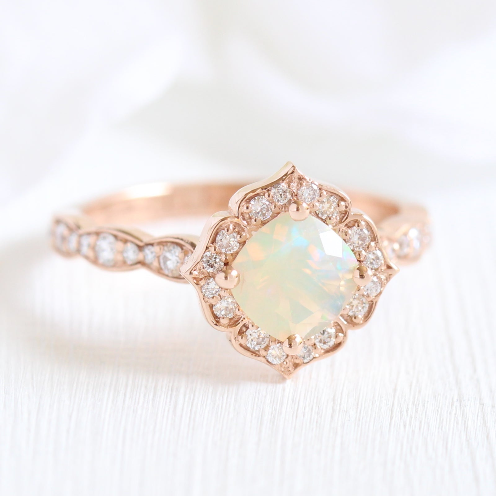 Mini Vintage Floral Ring In Scalloped Band W Opal And Diamond La More Design
