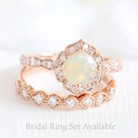 cushion cut opal ring and rose gold vintage style diamond band bridal set by la more design