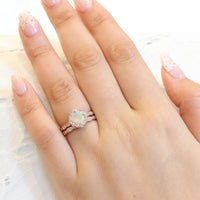 cushion cut opal ring bridal set in rose gold vintage floral diamond band by la more design